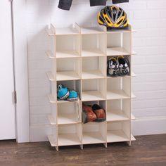 crankcert Modern Wood Shoe Storage Cubby Organizing A Garage Sale Wood Shoe Rack, Diy Shoe Rack, Shoe Cubby Storage, Diy Storage, Smart Storage, Shoe Rack Luxury, Wooden Diy, Wooden Shoe, Shoe Rack Closet