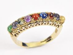 Presented here is a gemstone lovers delight. A Handmade, UK hallmarked Classic English REGARD ring. Nice and simple, Solid Gold, made by us, fully UK hallmarked and using only the best natural gem stones. Antique Gold Rings, Bangles, Bracelets, Stone Rings, Natural Gemstones, Vintage Jewelry, English, Jewellery, Antiques