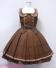 "Angelic Pretty ""Melty Ribbon Chocolate"" collared JSK in brown. I love all the colorways for this print!! A dream dress for sure."