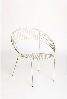 Retro metal chair that would be great for a patio or garden.