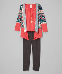 This Coral Geometric Cardigan Set - Girls is perfect! #zulilyfinds