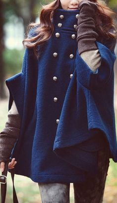 Street style button up navy cape coat