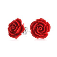 Luscious red rose stud earrings composed of rhodium plated sterling silver posts and vibrant rose red enamel. Perfect for teens and up!