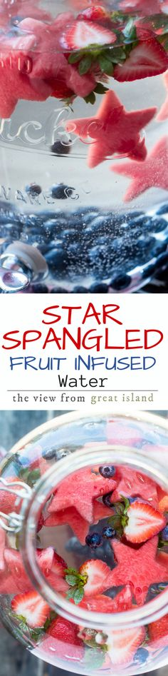 Star Spangled Fruit Infused Water ~ don't save this patriotic thirst quencher for Memorial Day or the 4th of July ~ stay healthy and hydrated all summer long with this colorful fruit infused water.