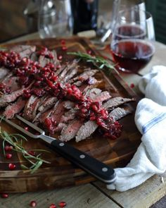 A simple sauce and a balsamic marinade transform this pomegranate flank steak into a flavorful and festive dinner.