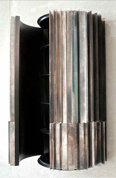 Vincenzo De Cotiis - Wall cabinet in silver plated brass blades oxidized by hand and inner shelves in recycled wood