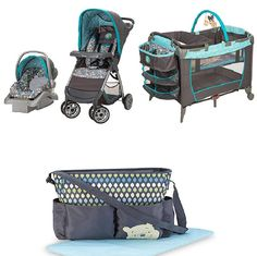 Disney Winnie the Pooh Geo Pooh Baby Gear Bundle,Stroller Travel System,Play Yard, and Diaper Bag