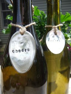 Set of 4 Vintage Spoon Wine Bottle Charm, Silver Spoons Hand Stamped Wine Tags, Gift Basket Tag Hostess Gift, Wine Charm Customized Gift Tag by OldeDogNewTricks on Etsy https://www.etsy.com/listing/73709102/set-of-4-vintage-spoon-wine-bottle-charm