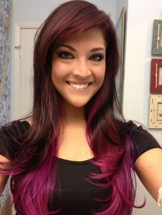 Natural Brown Hair with Pink Ends - Hair Colors Ideas