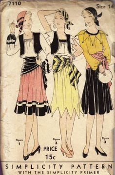 Simplicity 7110 Vintage Sewing Pattern Misses Gypsy Costume Size 12 Bust 30 Retro Halloween, Halloween Costumes, Carnival Costumes, Halloween 2018, Halloween Cards, Halloween Ideas, Happy Halloween, Vintage Dresses, Vintage Outfits