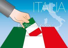 Italia, voto e referendum illustrazione con mappa italiana — Vettoriali Stock ©…