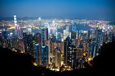 Hong Kong City Skyline At Night.