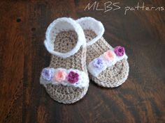 Crochet pattern baby sandals Photo Tutorial US terminology