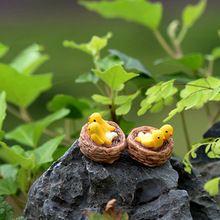 Mini aves ninho de miniaturas de fadas jardim gnomos musgo terrários estatuetas de resina artesanato para casa acessórios de decoração DIY(China (Mainland))