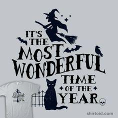 Autumnal Equinox Fall Festival October Halloween Wonderful Time Funny Witch Black Cat T-Shirt : Men Women's Slim Fit & Kids Sizes Halloween Snacks, Halloween Signs, Holidays Halloween, Halloween Crafts, Happy Halloween, Halloween Decorations, Halloween Humor, Halloween Items, Halloween Halloween