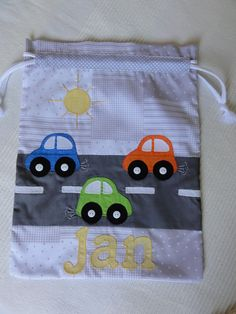 Sweet appliqued drawstring bag - perfect for a little boy :) Inspiration only, and lots of pics to look at on the page :)