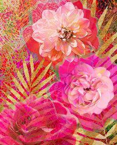 Golden Palms Print  #workinprogress #palms #floralart #floral #fabric #sportswear #activewear #apparel #yogagear #yoga #resortwear #patternbank designer #designstudio #pink #gold #patternbank