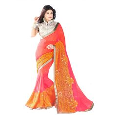 Club Art Decor Designer Pink Saree: Amazon.in: Clothing & Accessories