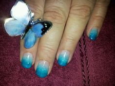 Glitter teal and blue faded gel