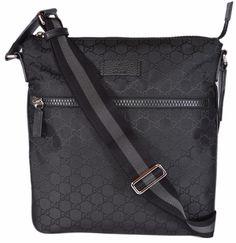NEW Gucci 449184 Black Nylon GG Guccissima Web Trim Crossbody Messenger Bag   Gucci  MessengerCrossBody d8d0aacc5396f