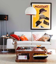 Real Living Rooms emphasis - focal point. a chartreuse couch as focal point in open