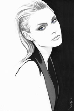 An exploration of minimal portraiture using black ink with watercolor only in selected areas to create fashion portraits of some of the industries top models. Fashion Illustration Face, Portrait Illustration, Fashion Illustrations, Art Illustrations, Amazing Drawings, Art Drawings, Drawing Faces, Transférer Des Photos, Comic Art Girls