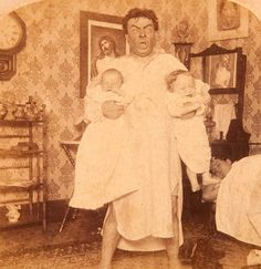 Late Night Insane Dad with Kids - Vintage 1890s Albumen Stereoview - Rare. A fantastic image - with all the details - mother asleep in bed, picture of Jesus on the wall and reflected in the mirror, clock at 1:30 - and best of all the look on the dad's face ….