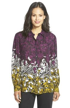 Classiques Entier® Point Collar Print Silk Blouse available at #Nordstrom
