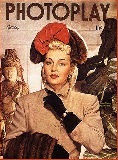 October, 1940's - Photoplay Magazine Cover - Lana Turner