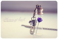 Tiny flower Bottle necklace. Glass bottle pendant. Cute Necklace. Pendant…