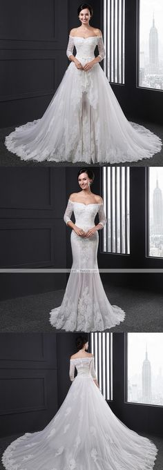 """This awesome wedding dress turns into a different one by removing the chapel train! Isn't it gorgeous? Repin if you also like it! Remember to use coupon code """"PTL40531"""" for an extra discount when you spend $200+"""
