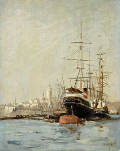 Stanisław Chlebowski 1835-1884 (Polish), View of the port in Brousse, oil on cardboard, 1878