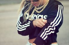 Sweater: adidas retro gold necklace crop jewels