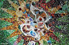 Colored tile mosaic, Antoni Gaudí, Park Güell, Barcelona.