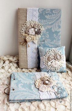 Set for wedding / Купить Свадебный набор Ностальгия - голубой, гостевая книга, папка для свидетельства, папка для документов