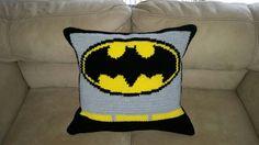Batman crochet pillow www.mommasjampackcrochetwordcharts.com