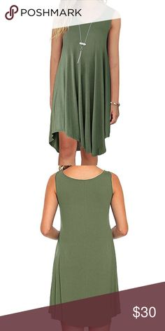 • Green tank summer dress • Beautiful army green summer dress. Bundle to save. Dresses Midi