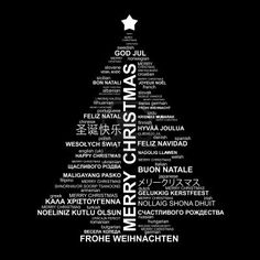 Black and white Christmas typography illustration - Merry Christmas in different languages Stock Photo