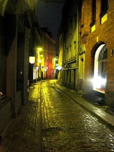 Kafkaesque streets of Riga's Old Town, Latvia