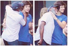 Harry taking pictures with some crazy guy....poor Haz
