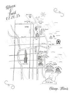 Sale ends 10/15 Custom Bar Mitzvah Map Chicago Map by LaceAndBeau
