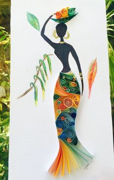 This quilled paper artwork named African Woman is handmade from colourful strips of paper and watercolor.  Its placed in a deep frame, frame size is 26x41 cm  Its ready to be shipped in 1-2 days.  This is a custom piece and it will be unique, it wont be exactly the same but will be very similar to this piece.