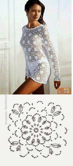 This post was discovered by De Pull Crochet, Crochet Diy, Crochet Halter Tops, Crochet Quilt, Crochet Girls, Crochet Squares, Crochet Cardigan, Irish Crochet, Crochet Motif