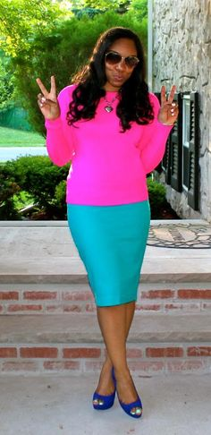 Style & Poise - (color block) baby blue skirt, pink top, dark blue shoes
