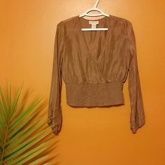 Banana Republic Bronze Silk top Beautiful long-sleeved silk top with gathered waist. Banana Republic Tops