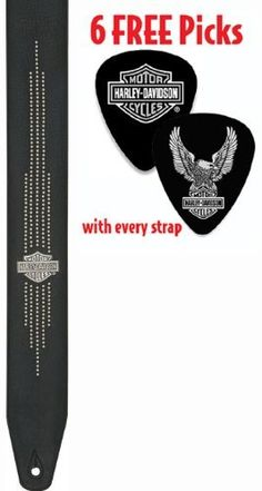 "Harley-Davidson® Nailhead Leather HDS-004 Guitar Strap 2.5"" Wide-6 FREE PICKS! by Jim Dunlop. $29.99. The Harley-Davidson® 52"" long, 2.5"" Leather Guitar Strap is made of premium full-grain leather and is a tribute to  the legendary Milwaukee V-Twin and the generation that took its distinctive rumble on the open road. The leather strap is characterized by its supple feel and flexibility and is the strap for the ages. It is soft and supple yet strong and durable. Th..."