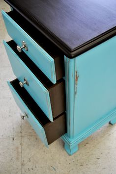 Small 3 drawer cabinet restored by Deep South Vintage of WV.  Painted in Miss Lillian's No Wax Chalk Paint. See more unique pieces at www.facebook.com/deepsouthrecreations.