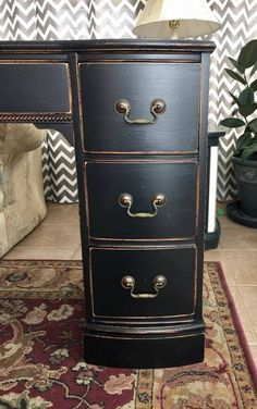 """""""Here's one....this beautifully finished desk is for our friend! We hope she loves it as much as we did creating it! This piece is hand-painted in Lamp Black Milk Paint by General Finishes, distressed then sealed with High Performance Topcoat for a beautiful finish!"""" - Goodwillhunting Lawson"""