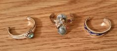 Rings Toe lot of 3 all silver tone one with blue stone one with flip flop an one with waves