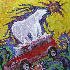 Title: Polar bear traveling with us Date: 2007 Technique: Acrylic, print, banner Size of work: 130 x 130 cm  Price: 5.000 USD